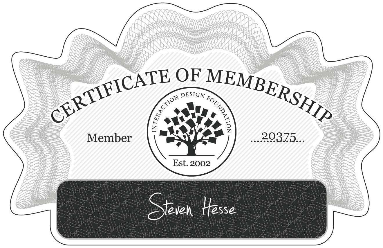 Steven Hesse: Certificate of Membership