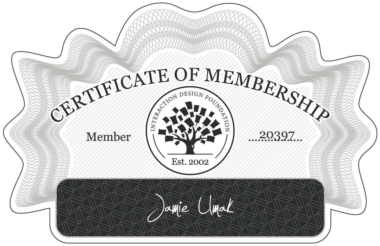 Jamie Umak: Certificate of Membership
