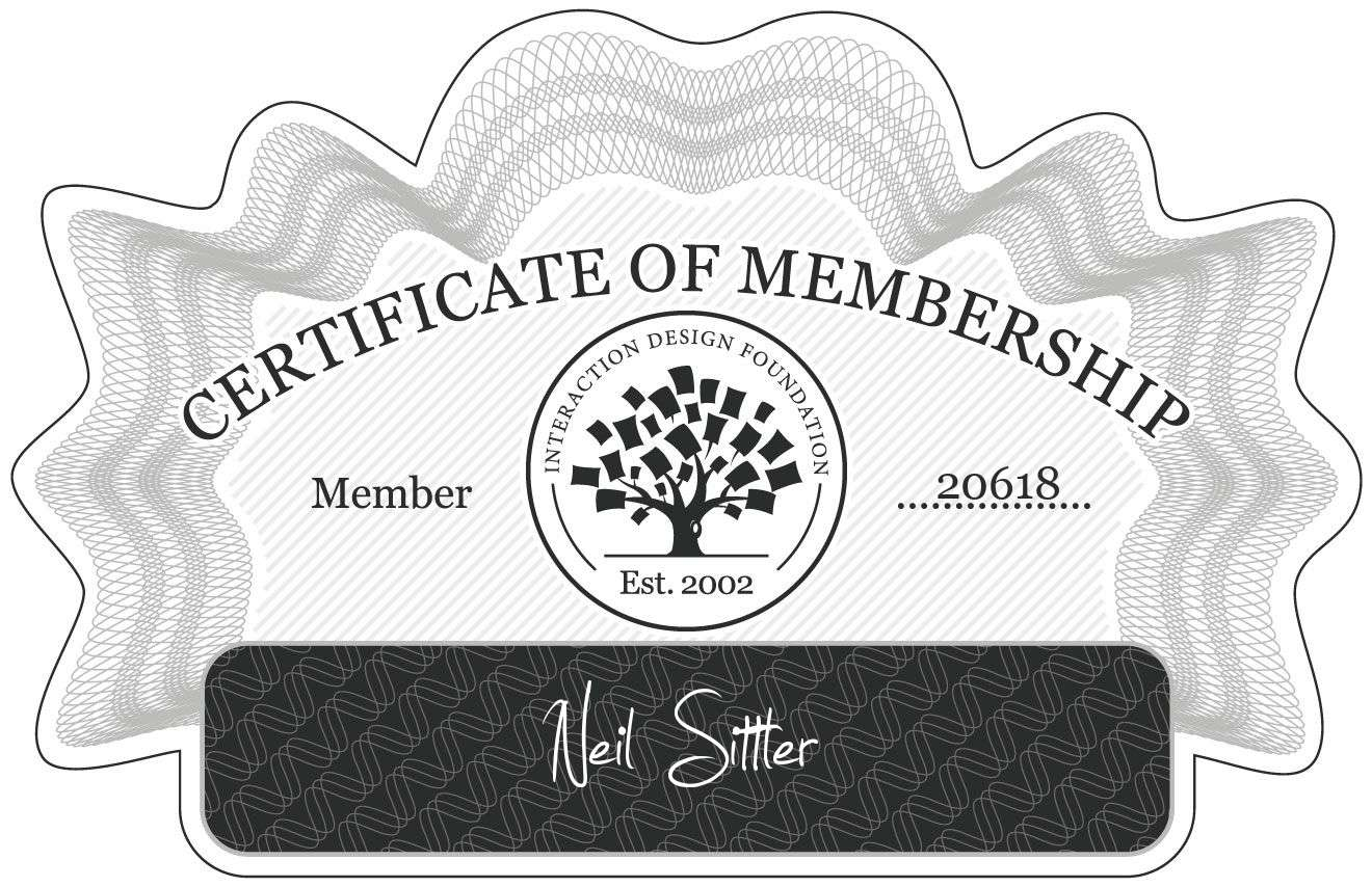 Neil Sittler: Certificate of Membership