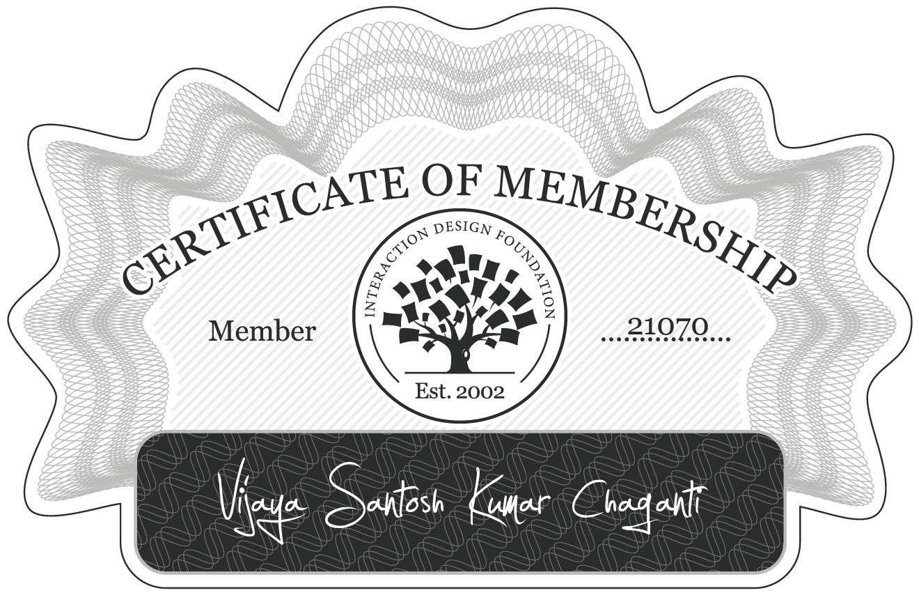 Vijaya Santosh Kumar Chaganti: Certificate of Membership