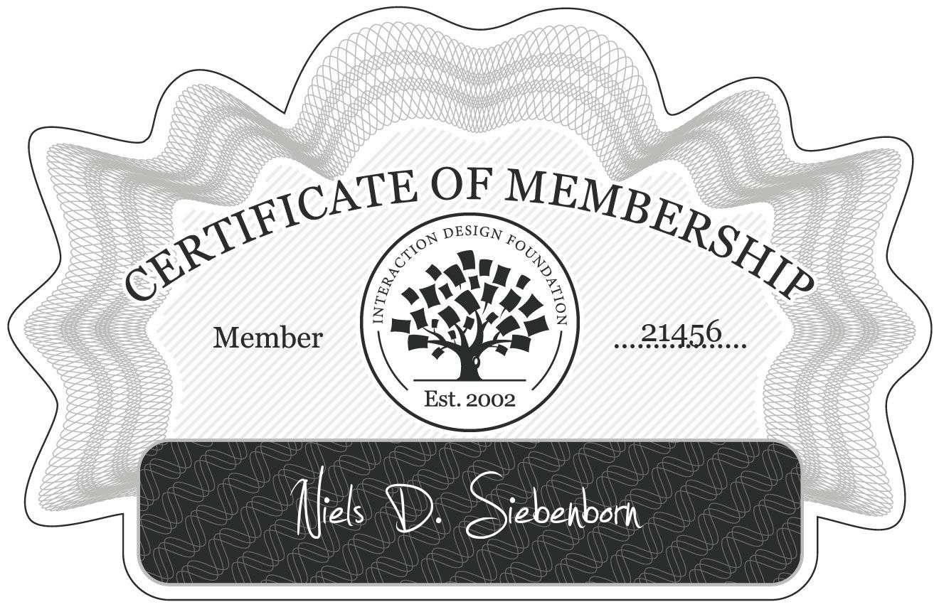 Niels D. Siebenborn: Certificate of Membership