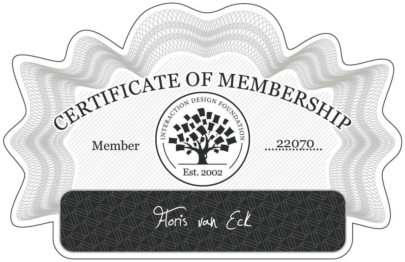 Floris van Eck: Certificate of Membership