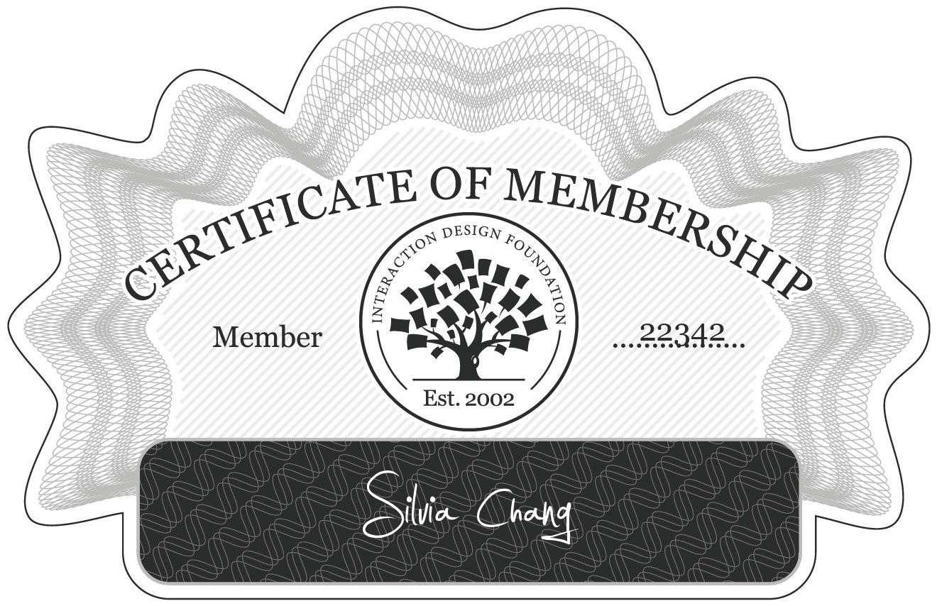 Silvia Chang: Certificate of Membership