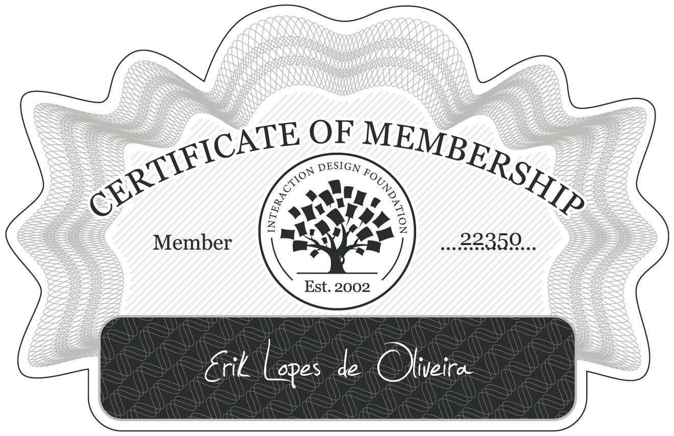 Erik Lopes de Oliveira: Certificate of Membership