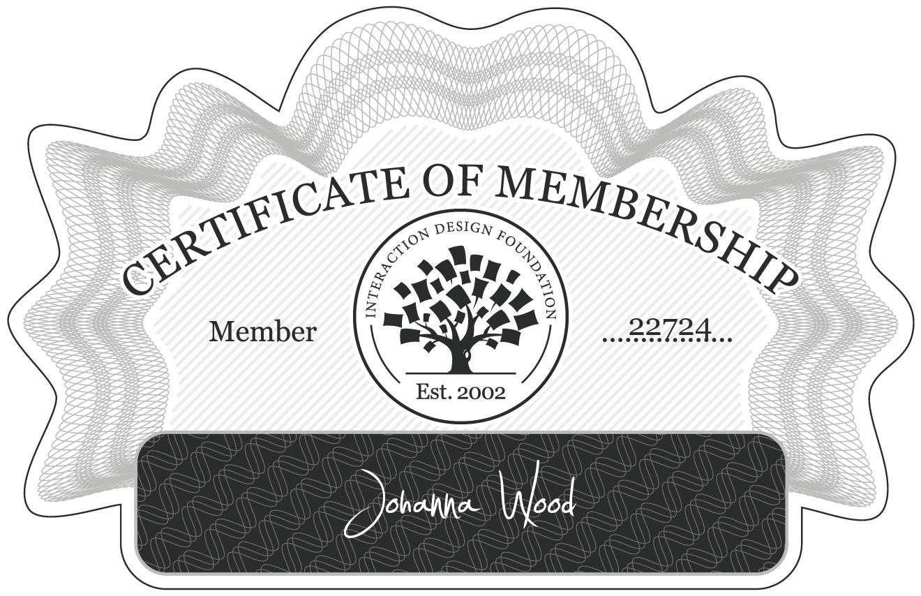 Johanna Wood: Certificate of Membership