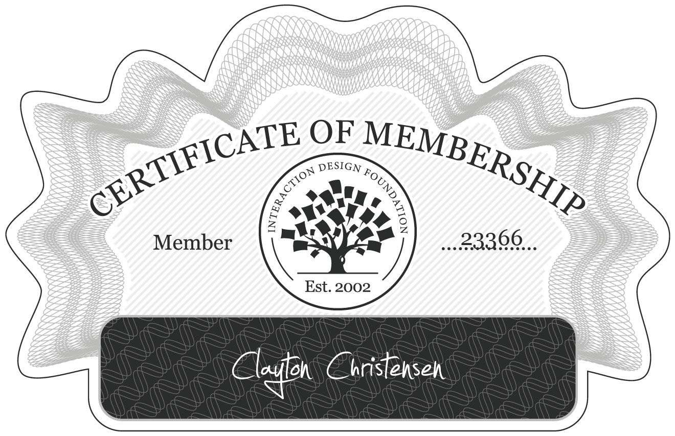 Clayton Christensen: Certificate of Membership