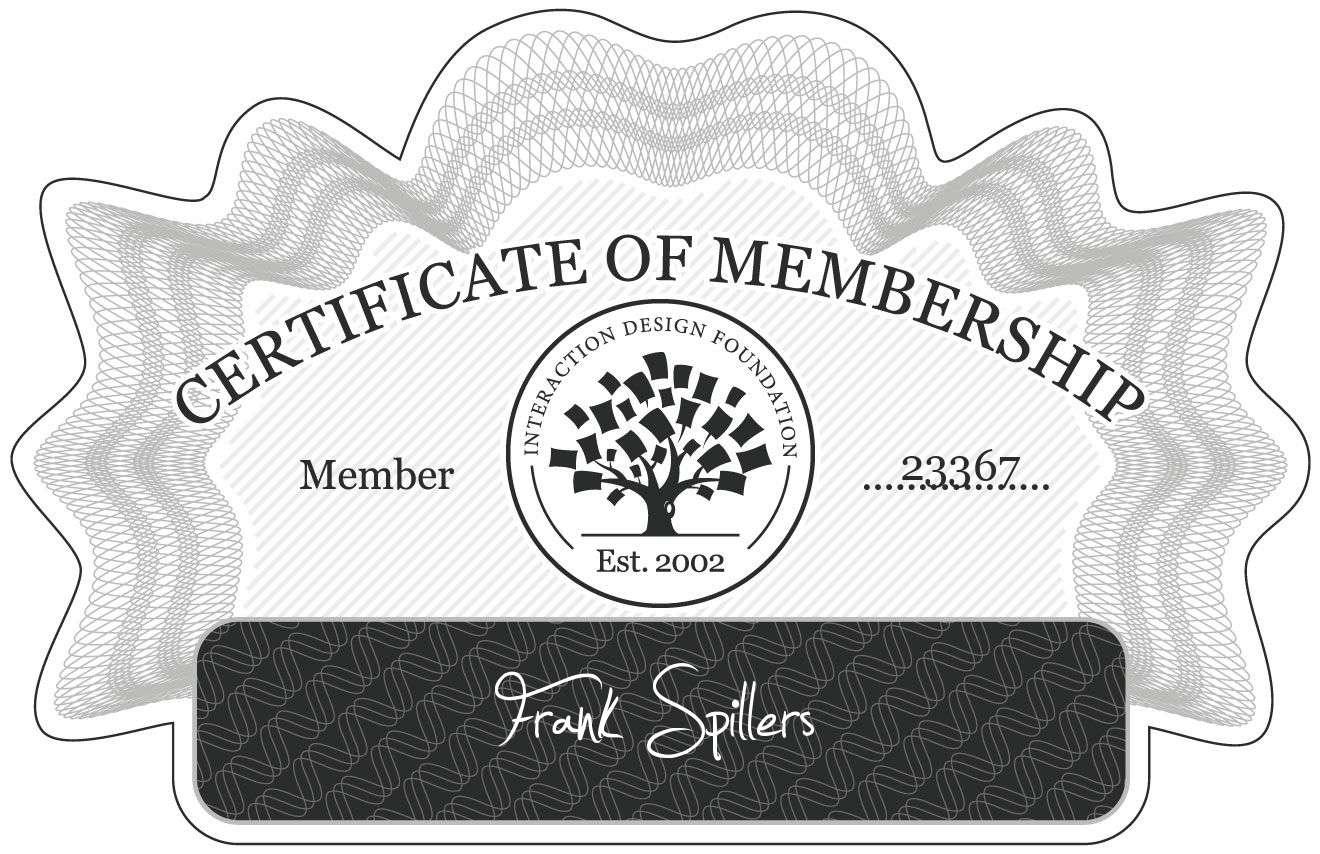 Frank Spillers: Certificate of Membership