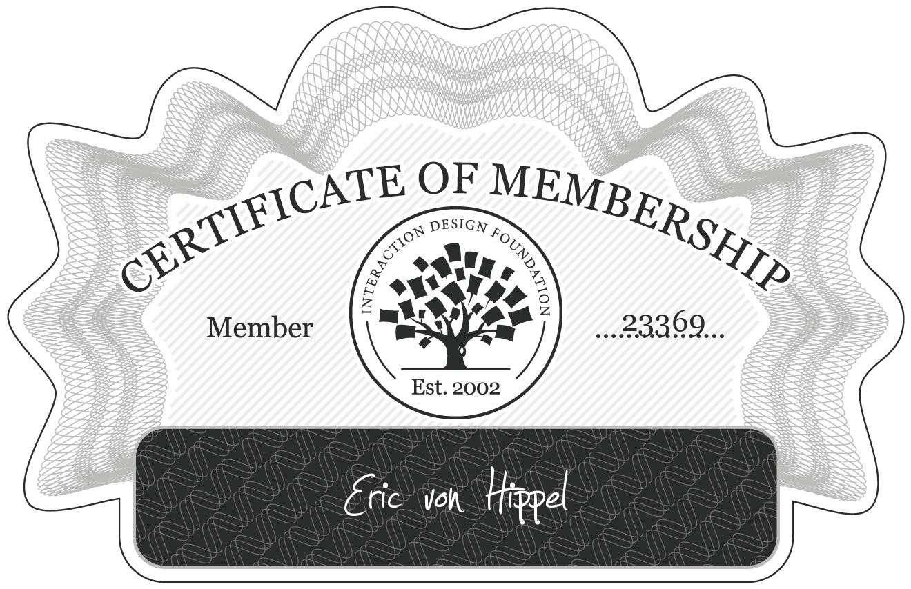 Eric von Hippel: Certificate of Membership