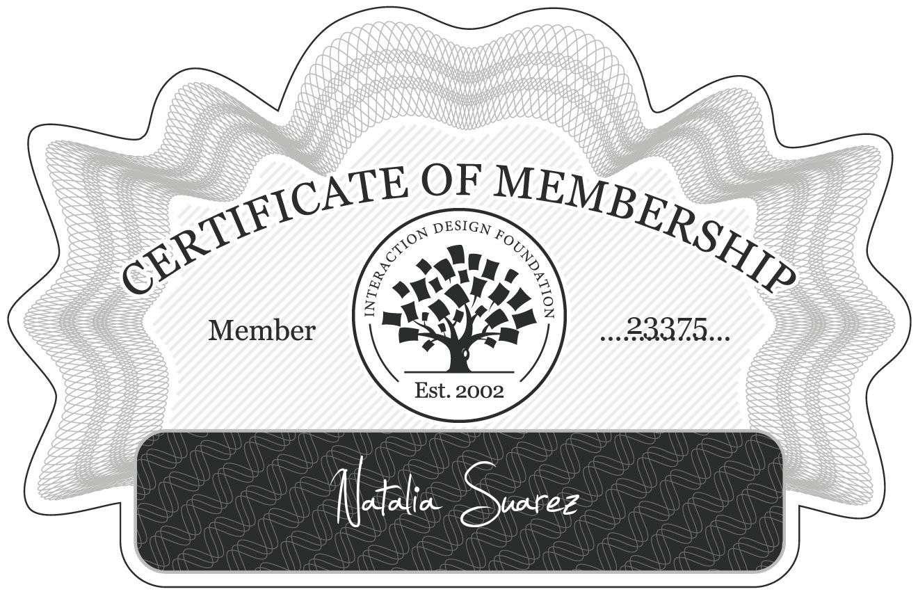 Natalia Suarez: Certificate of Membership