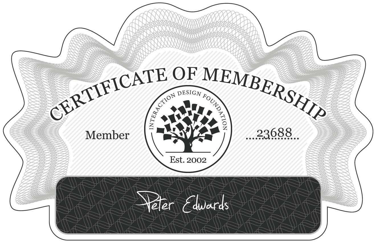 Peter Edwards: Certificate of Membership
