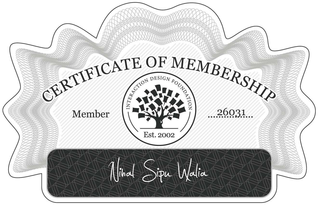 Nihal Sipu Walia: Certificate of Membership