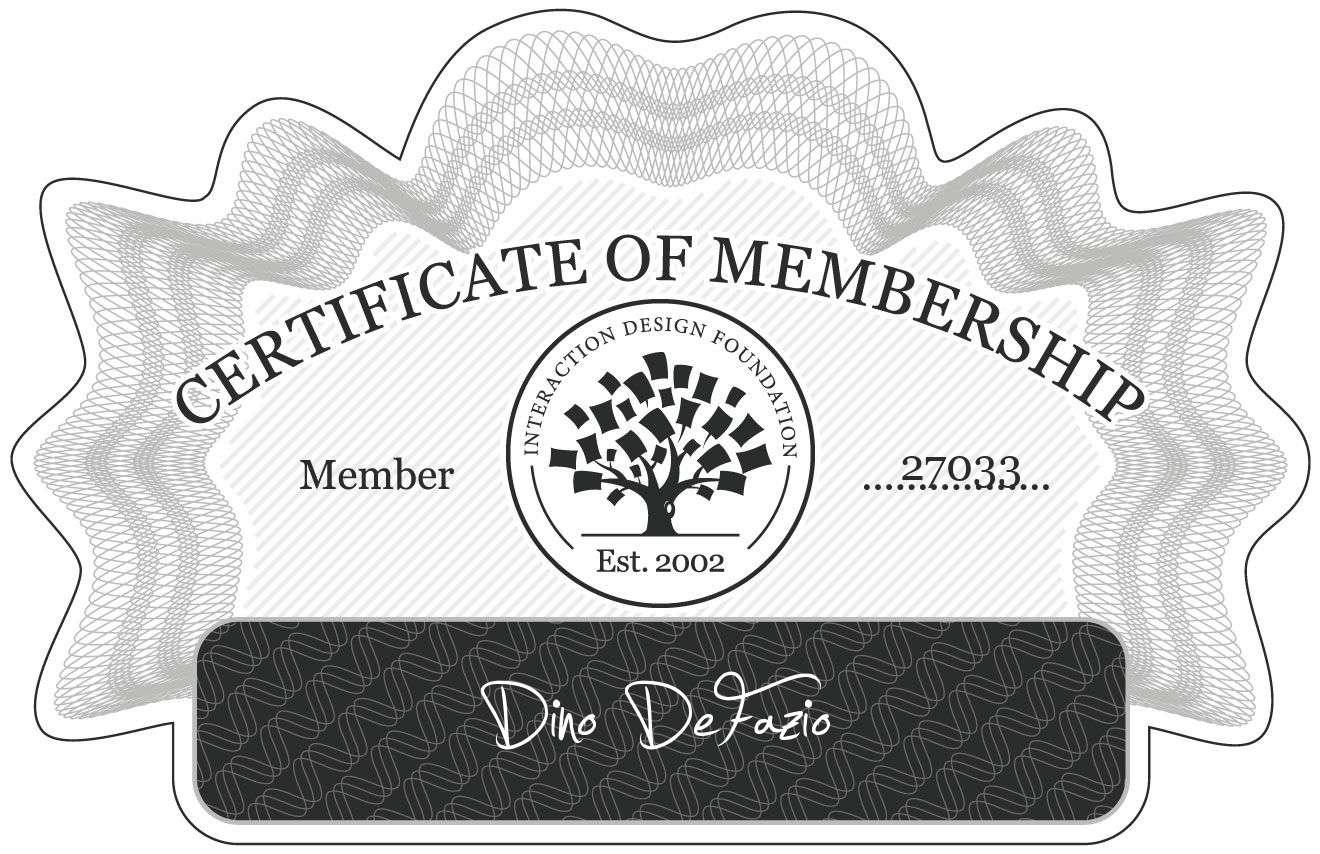 Dino DeFazio: Certificate of Membership
