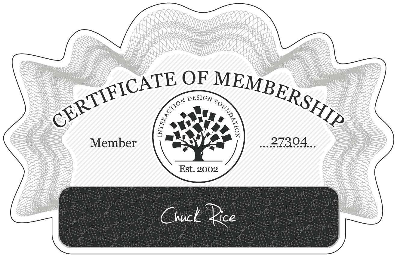 Chuck Rice: Certificate of Membership