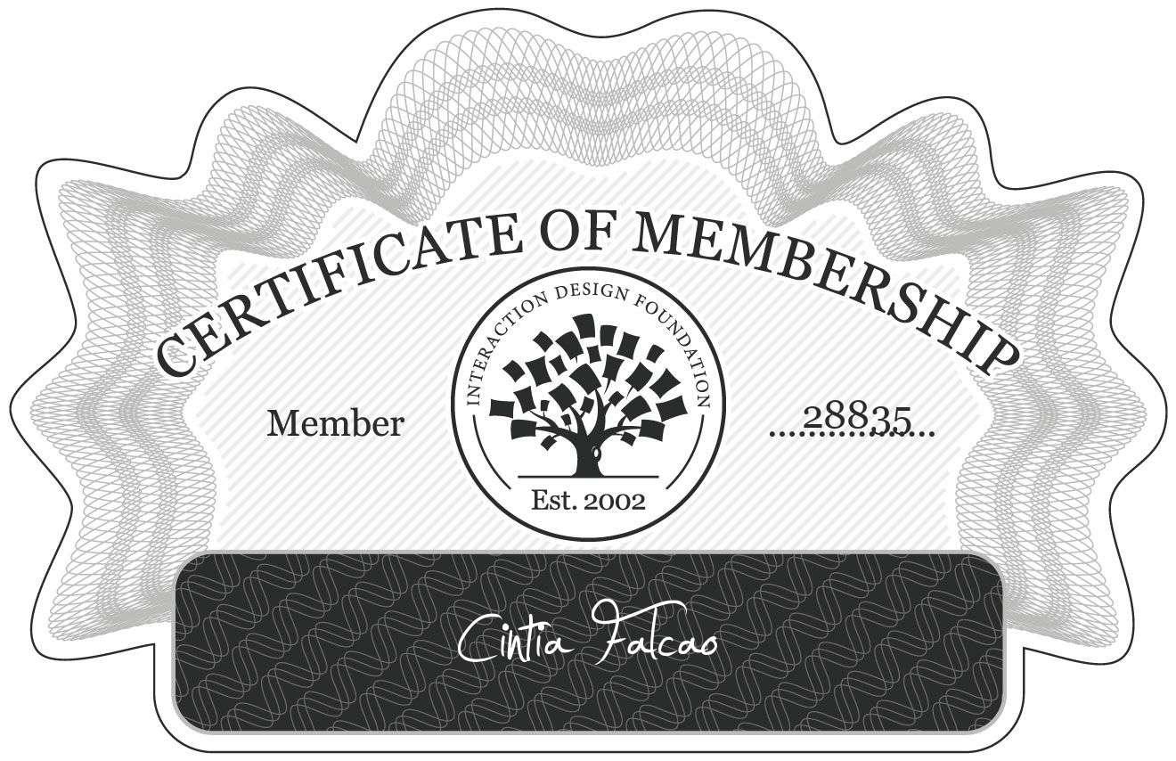 Cíntia Falcão: Certificate of Membership