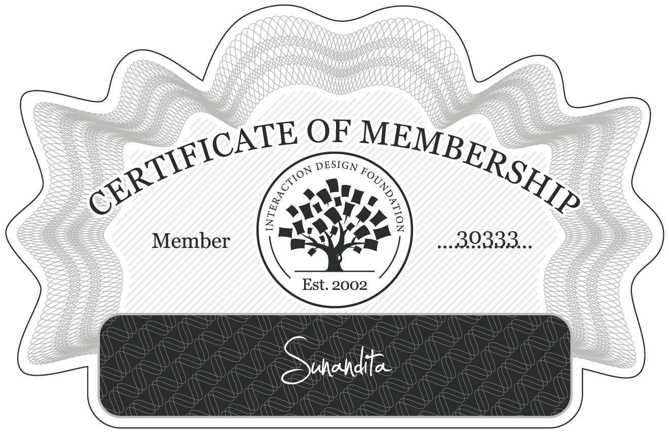 Sunandita: Certificate of Membership