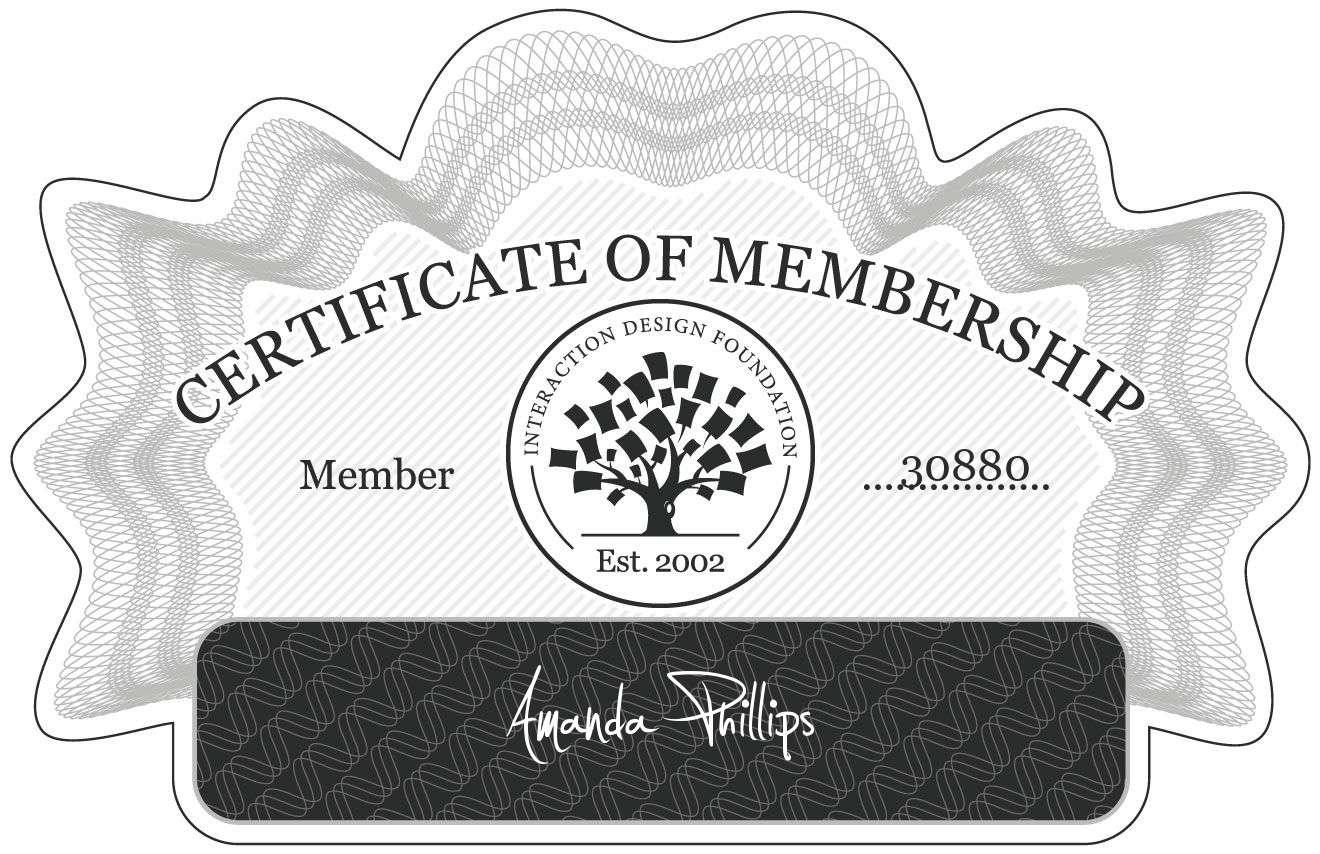Amanda Phillips: Certificate of Membership