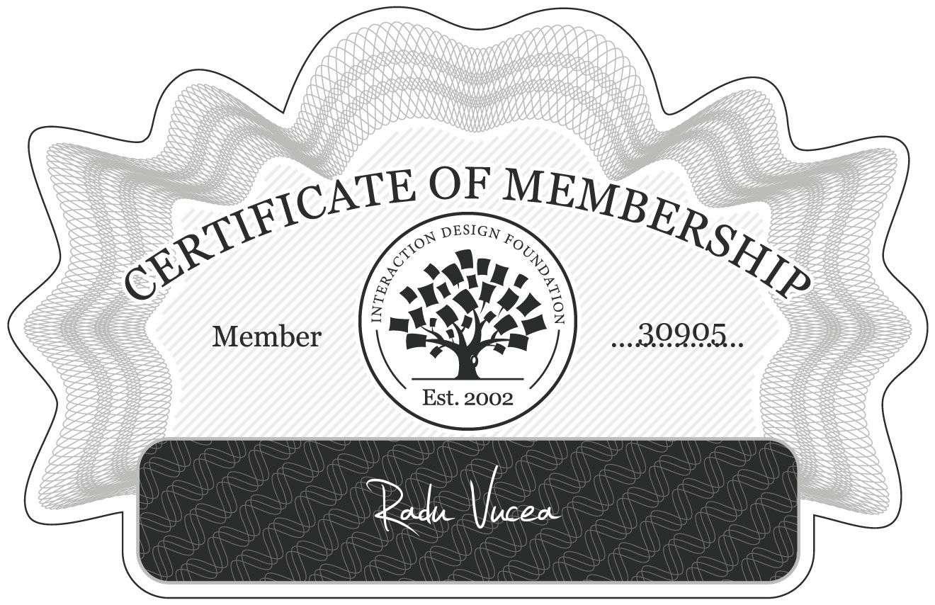 Radu Vucea: Certificate of Membership