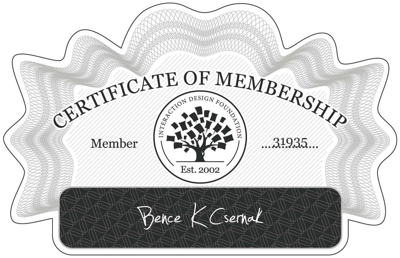 Bence K Csernak: Certificate of Membership