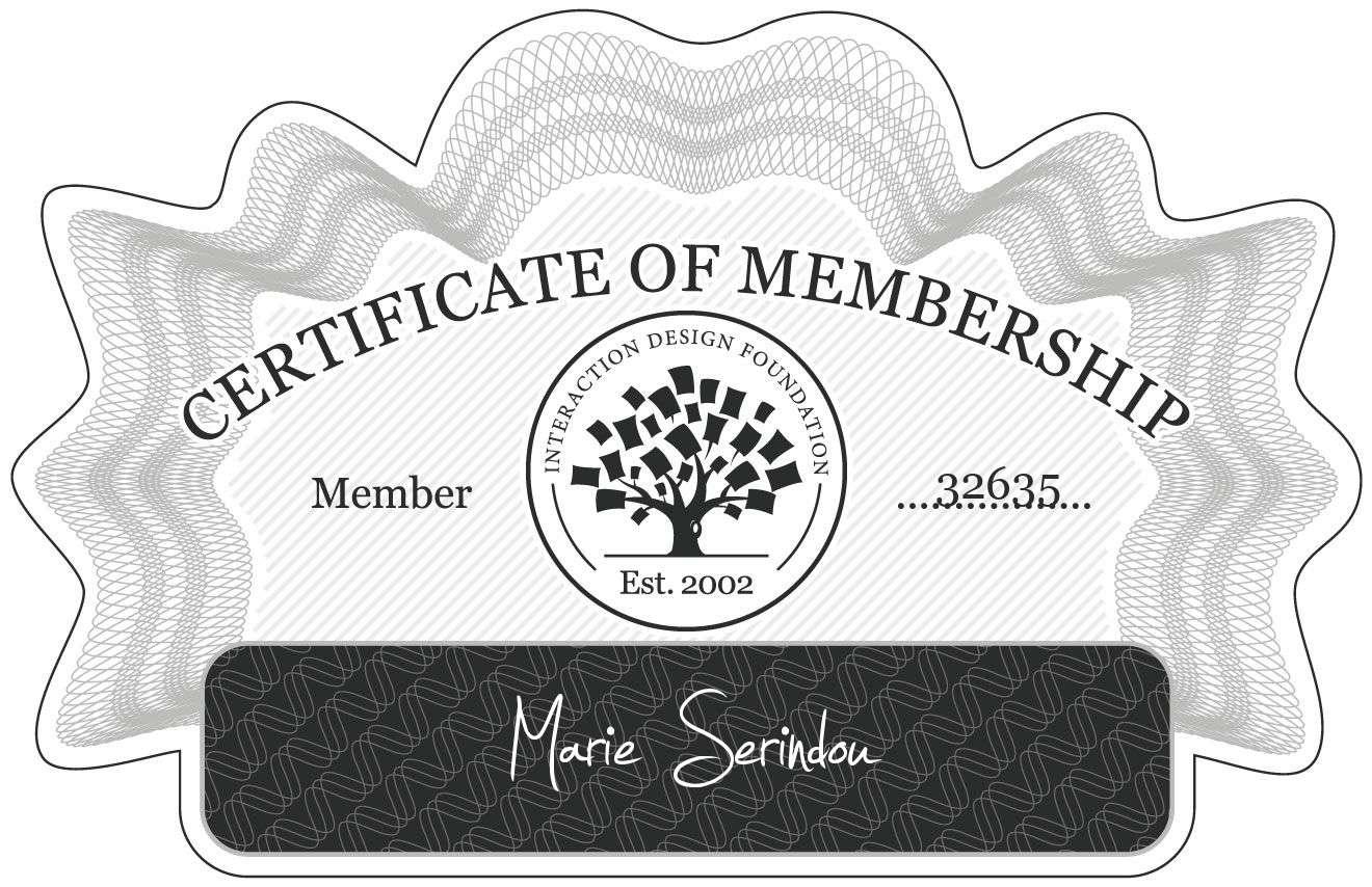 Marie Serindou: Certificate of Membership