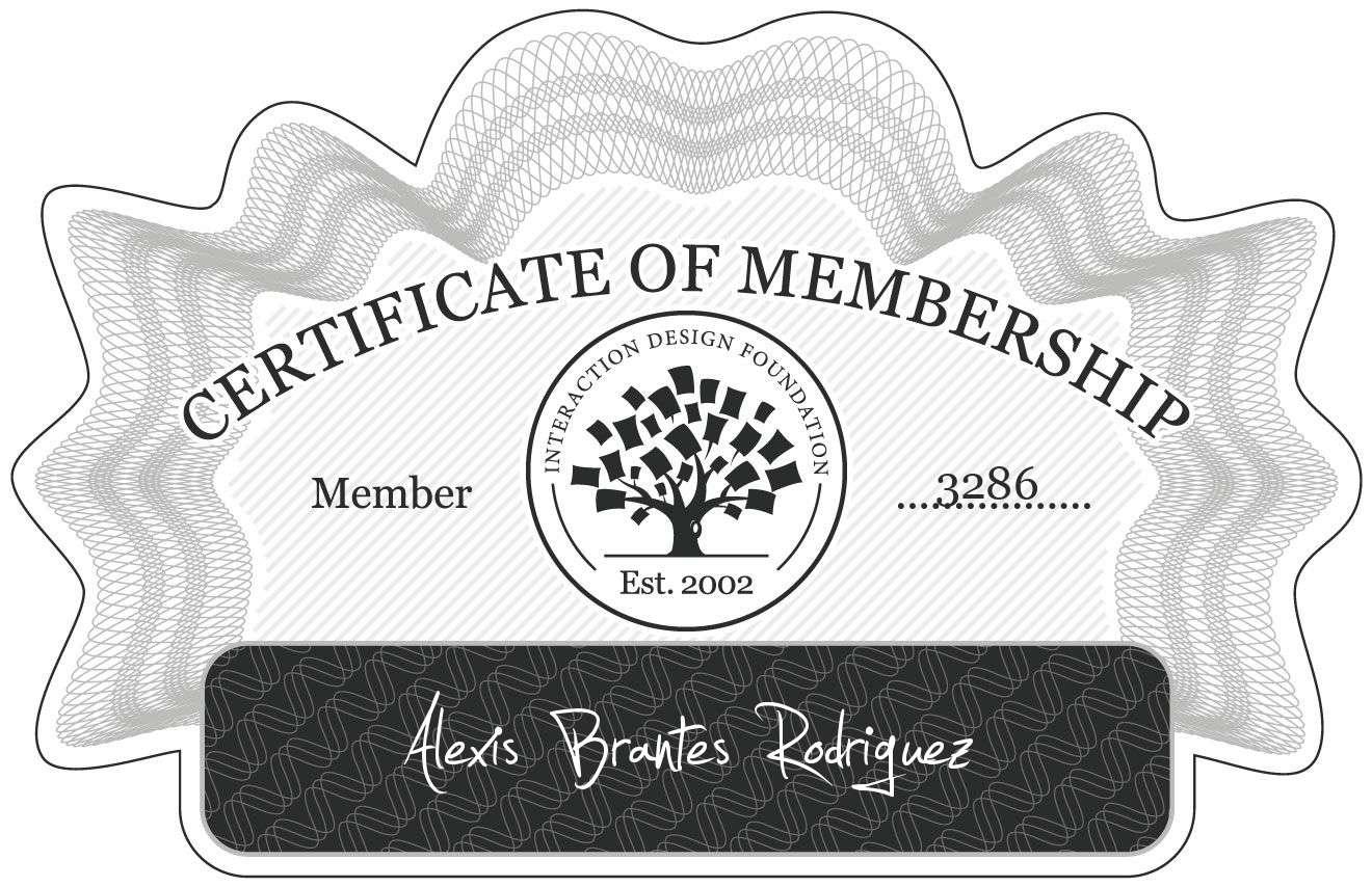 Alexis Brantes Rodriguez: Certificate of Membership