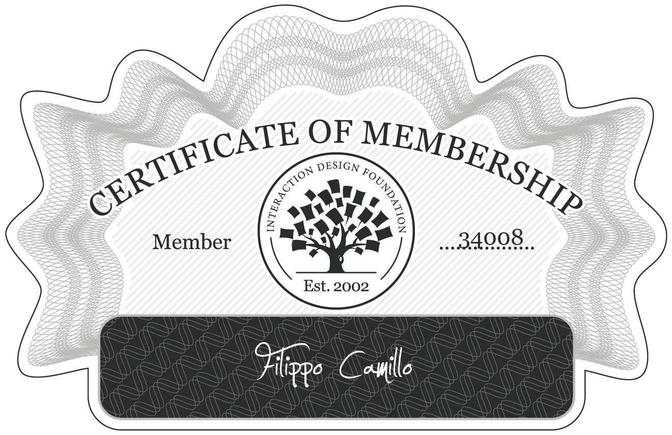 Filippo Camillo: Certificate of Membership
