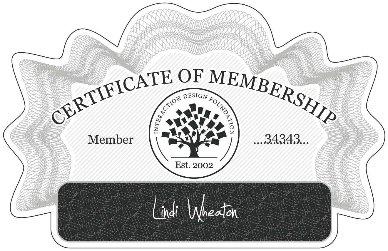 Lindi Wheaton: Certificate of Membership