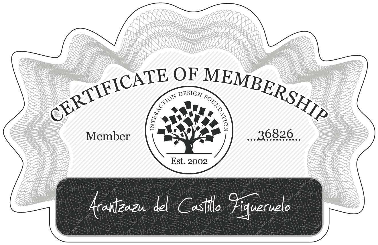 Arantzazu del Castillo Figueruelo: Certificate of Membership