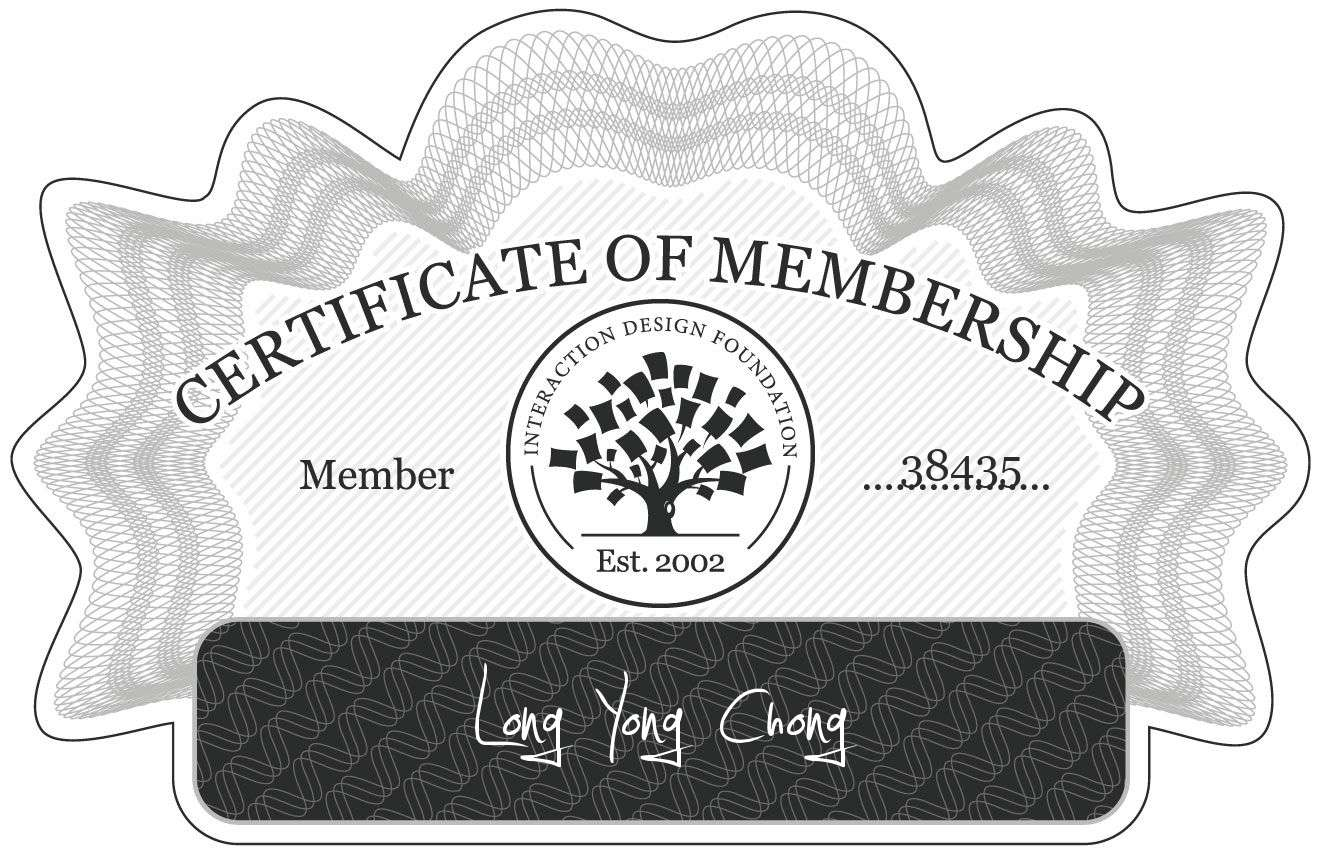 Long Yong Chong: Certificate of Membership