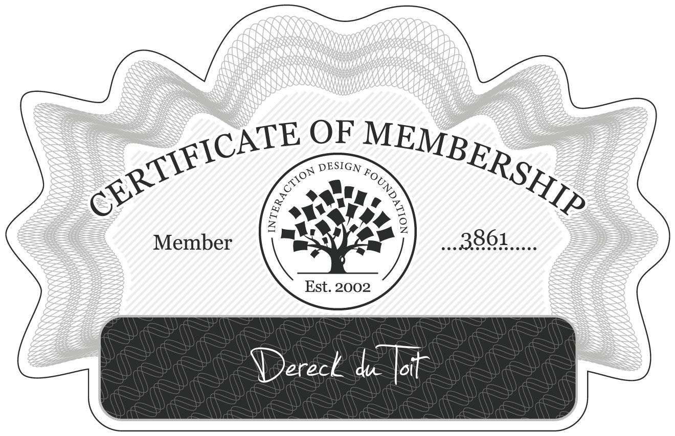 Dereck du Toit: Certificate of Membership
