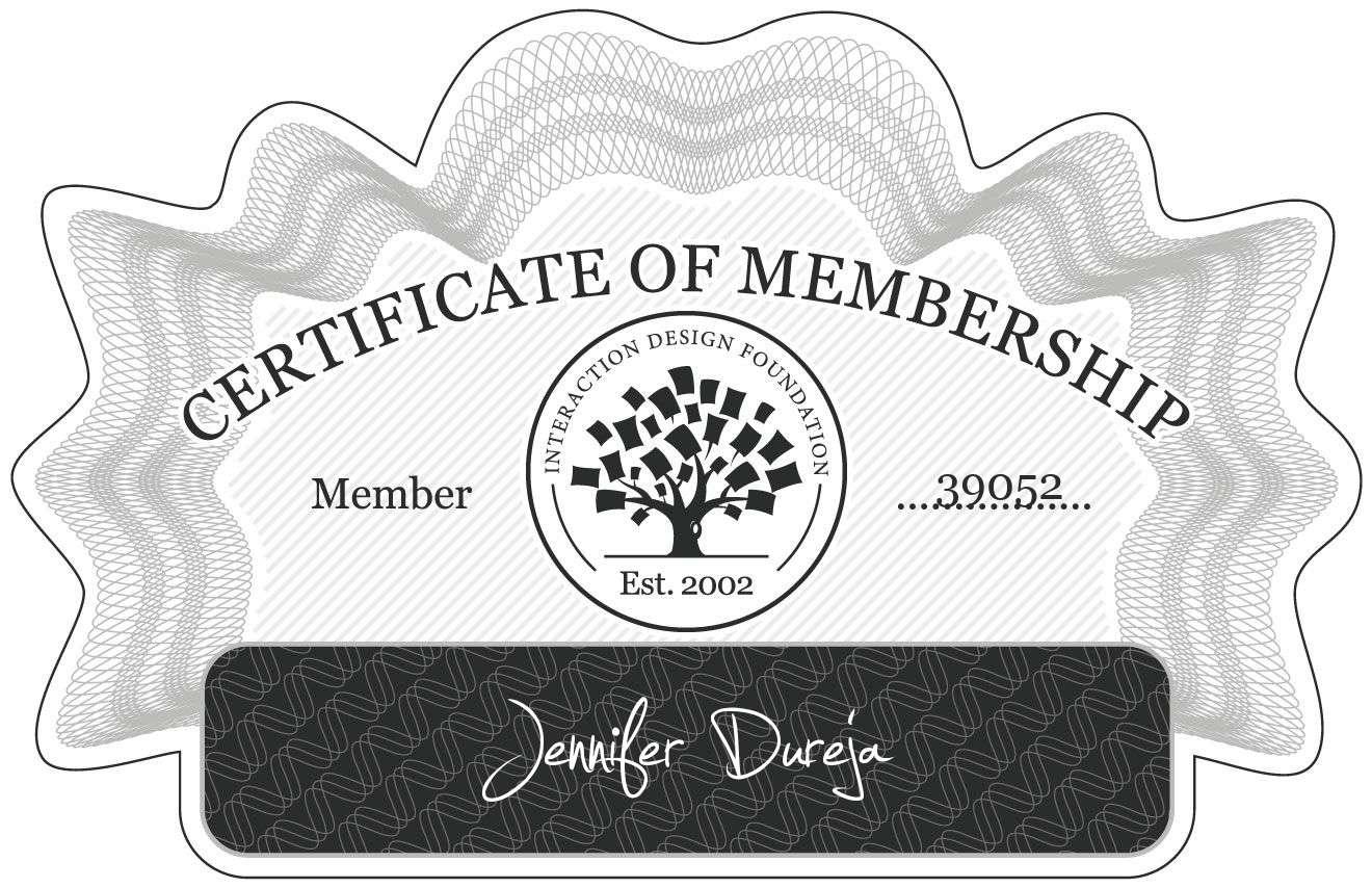 Jennifer Dureja: Certificate of Membership