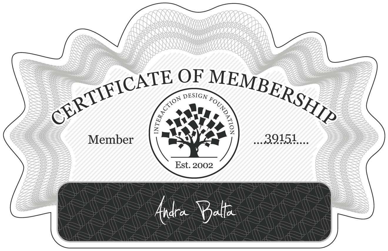 Andra Balta: Certificate of Membership