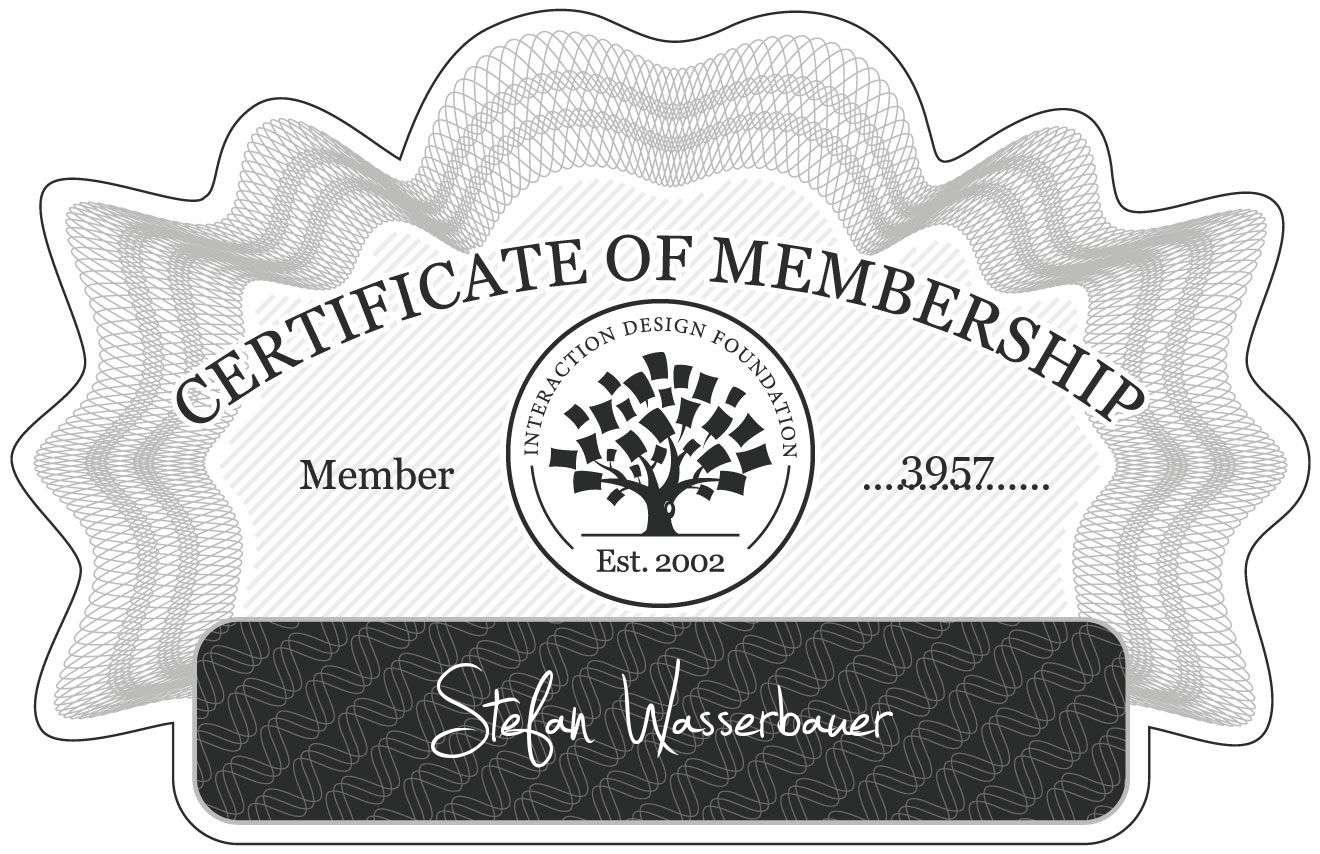 Stefan Wasserbauer: Certificate of Membership