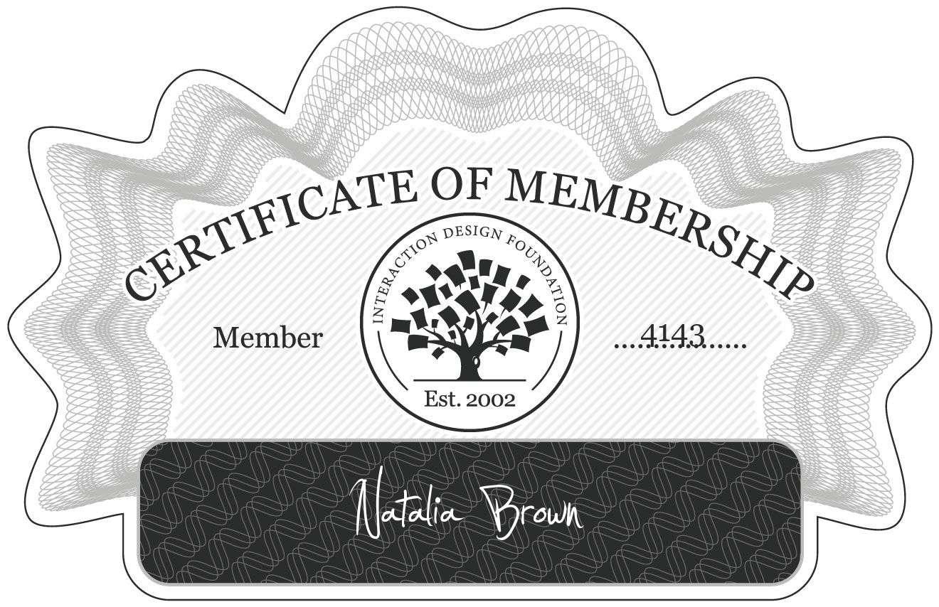 Natalia Brown: Certificate of Membership