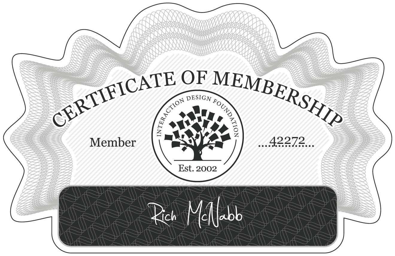 Rich McNabb: Certificate of Membership