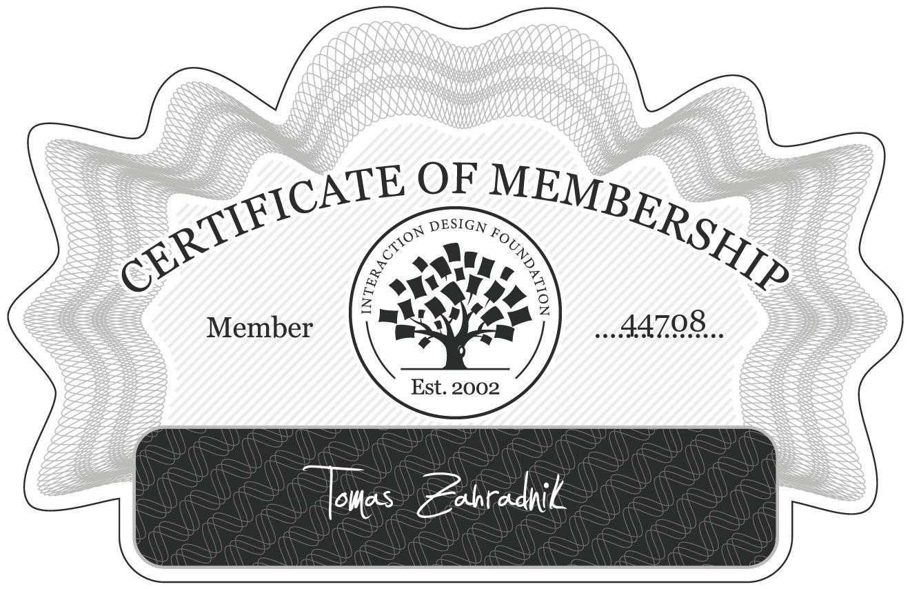 Tomáš Zahradník: Certificate of Membership