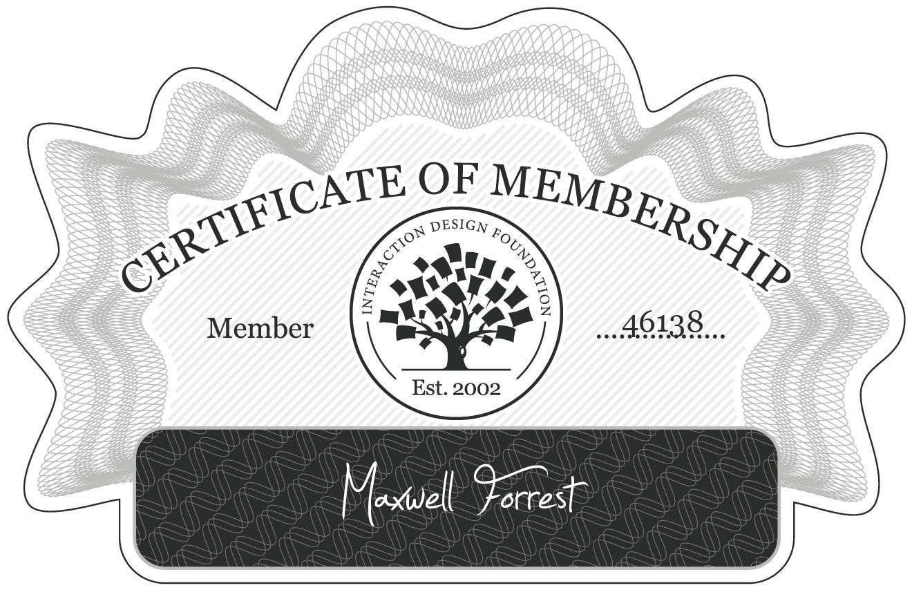 Maxwell Forrest: Certificate of Membership
