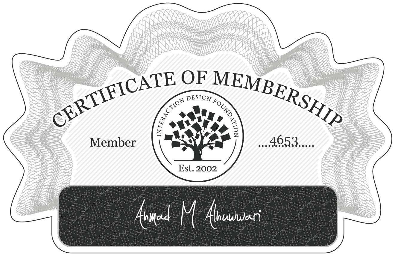 Ahmad M Alhuwwari: Certificate of Membership