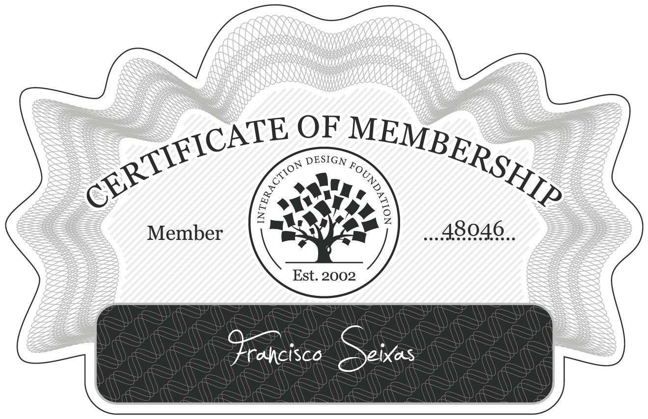 Francisco Seixas: Certificate of Membership