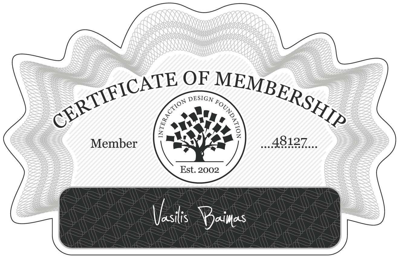 Vasilis Baimas: Certificate of Membership