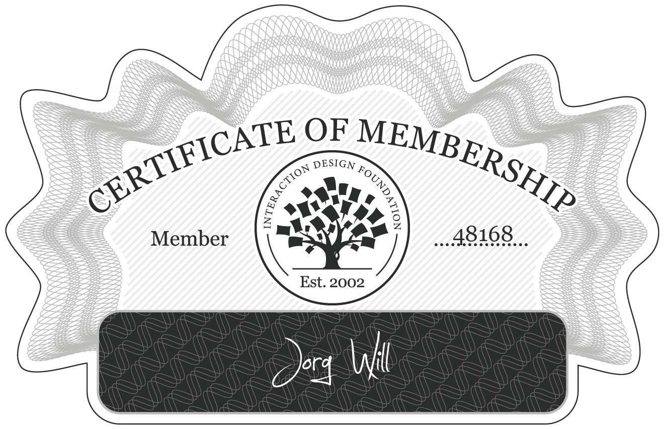 Jörg Will: Certificate of Membership