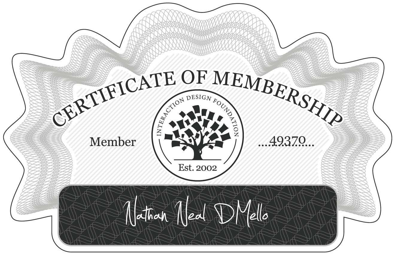 Nathan Neal DMello: Certificate of Membership