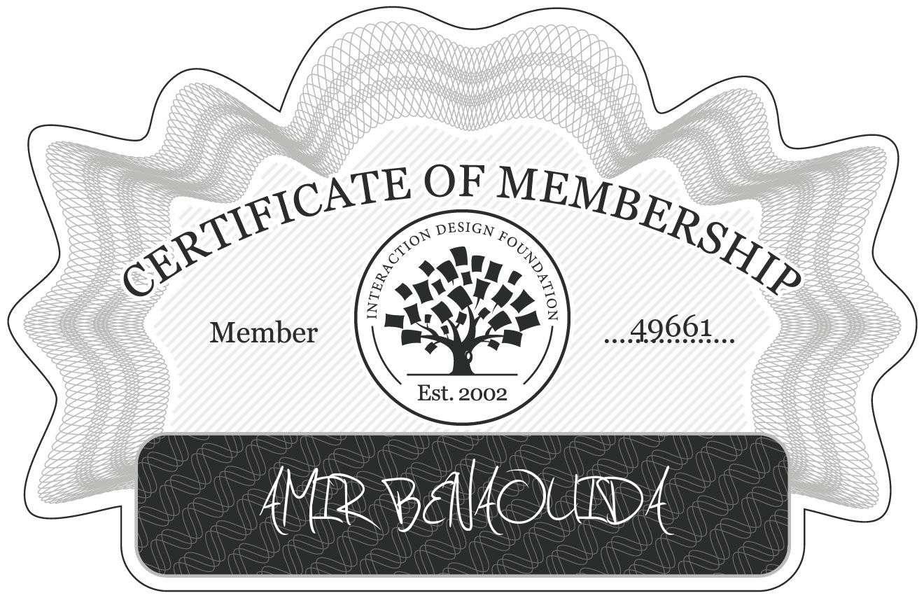 AMIR BENAOUIDA: Certificate of Membership