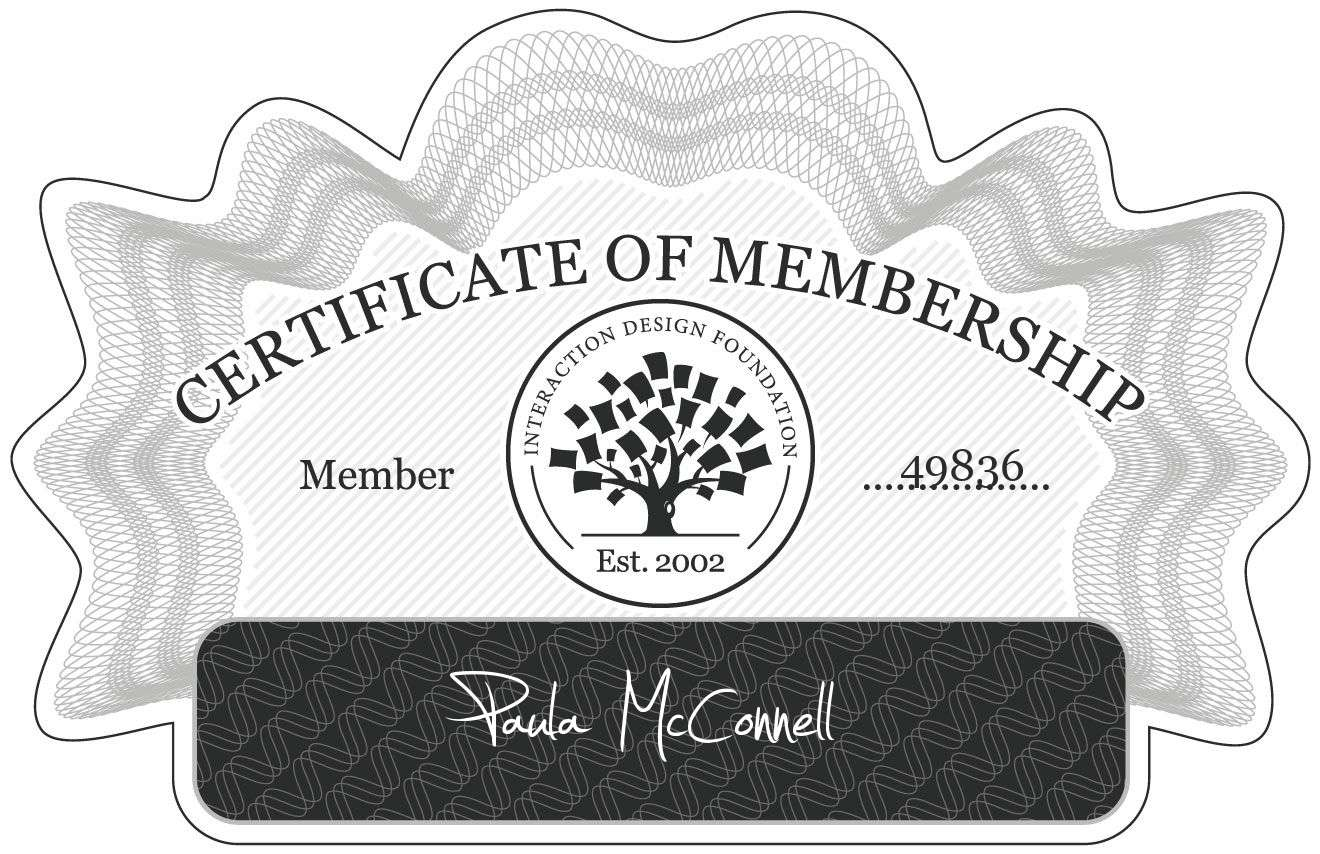 Paula McConnell: Certificate of Membership