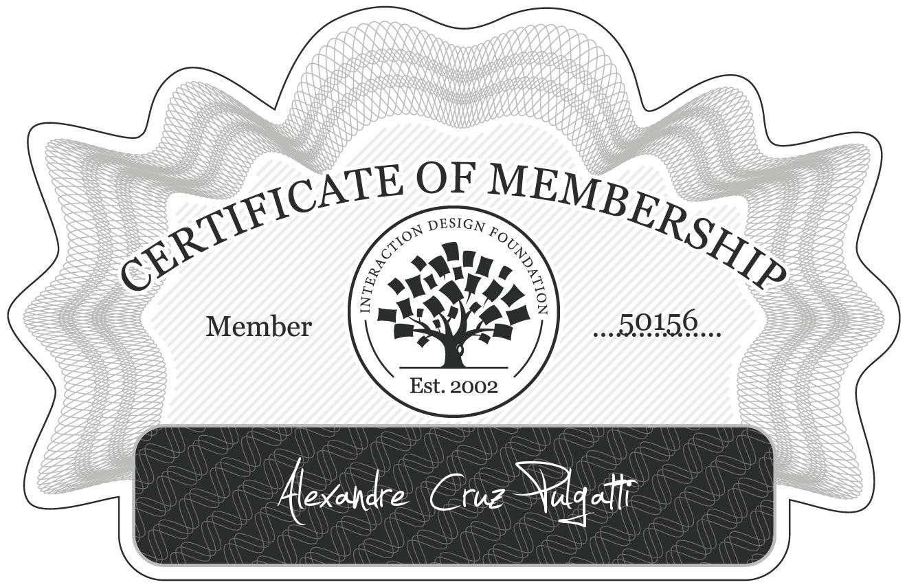 Alexandre Cruz Pulgatti: Certificate of Membership