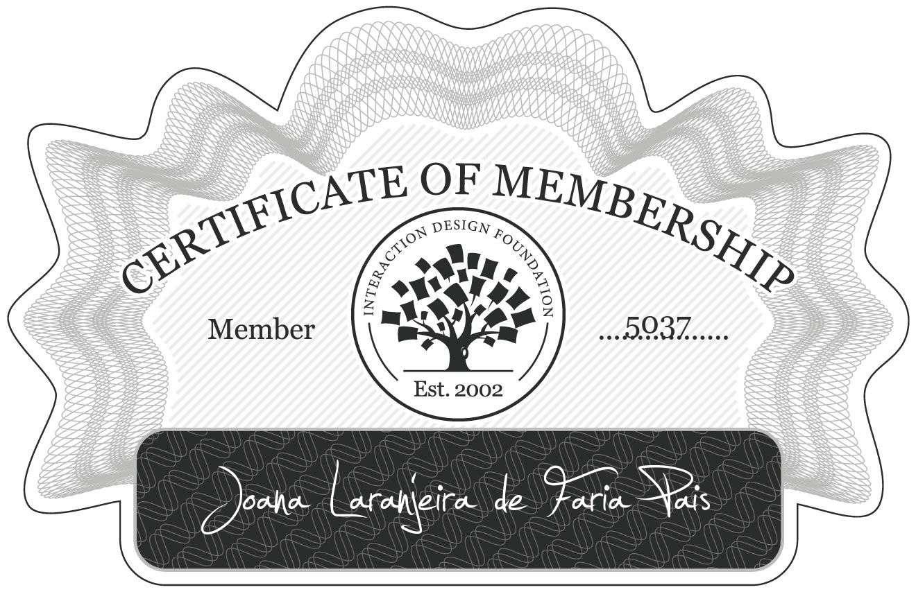 Joana Laranjeira de Faria Pais: Certificate of Membership