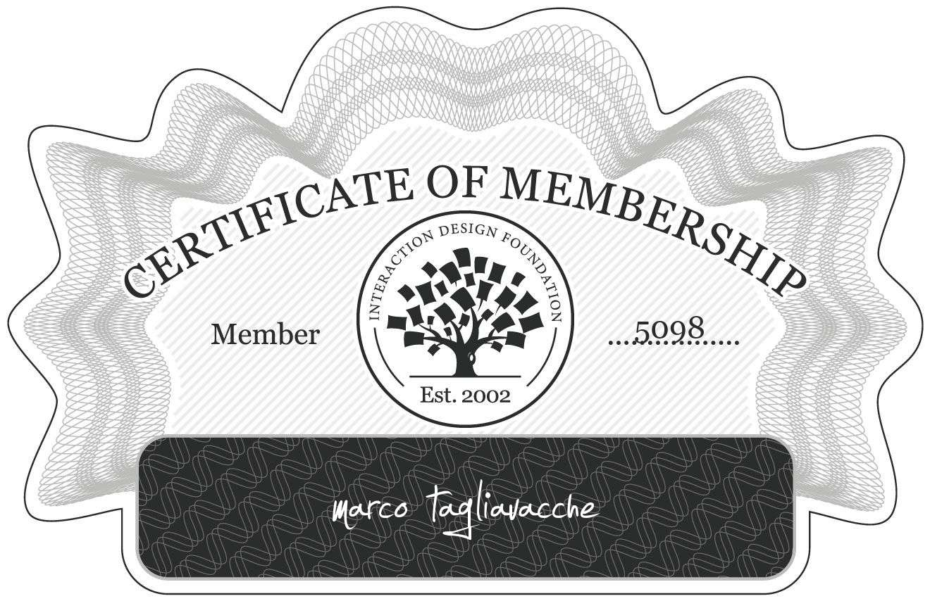 marco tagliavacche: Certificate of Membership
