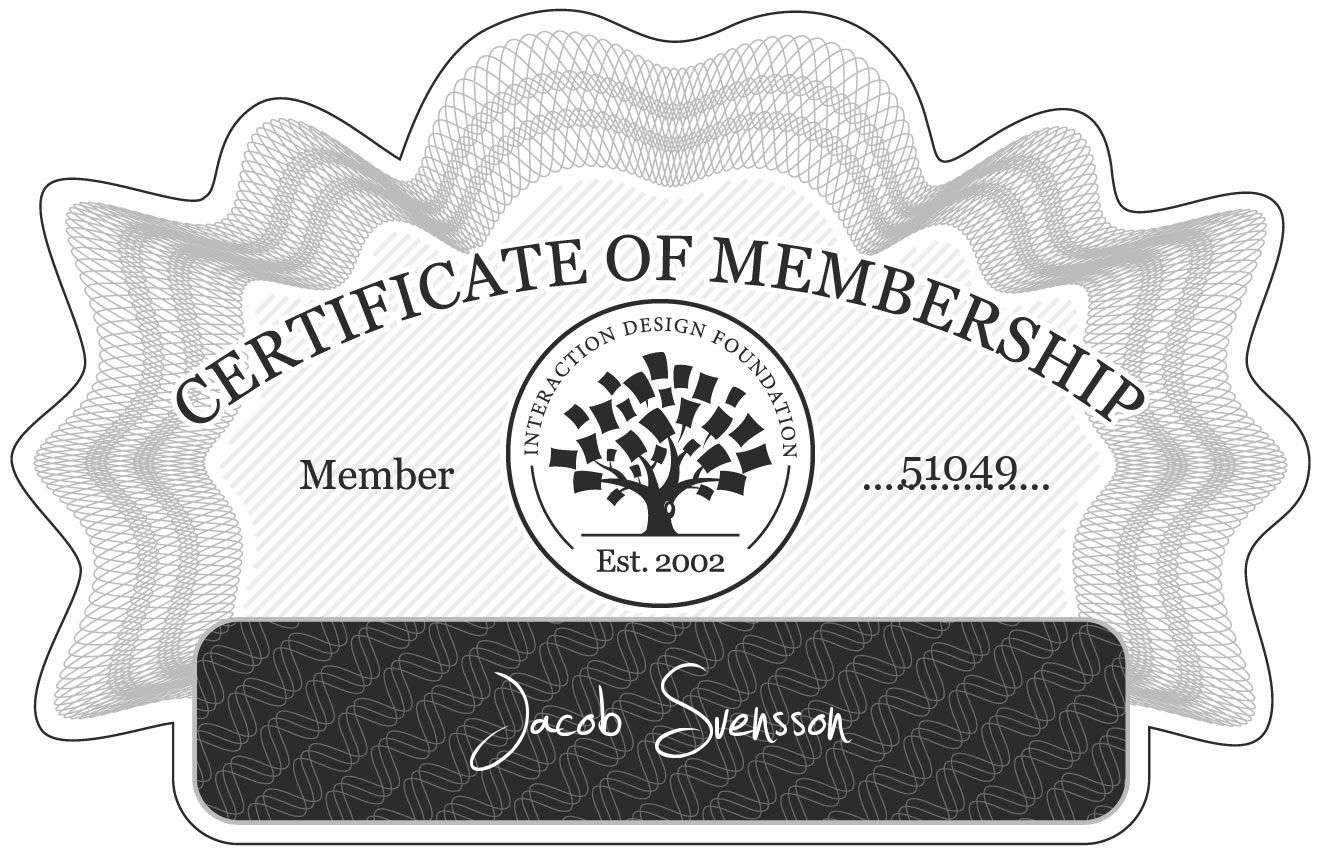Jacob Svensson: Certificate of Membership