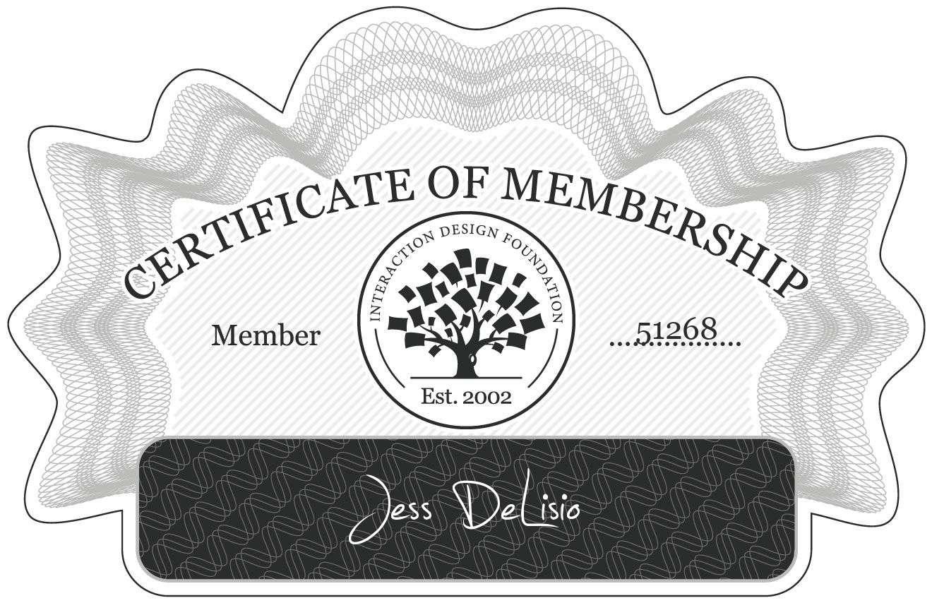 Jess DeLisio: Certificate of Membership