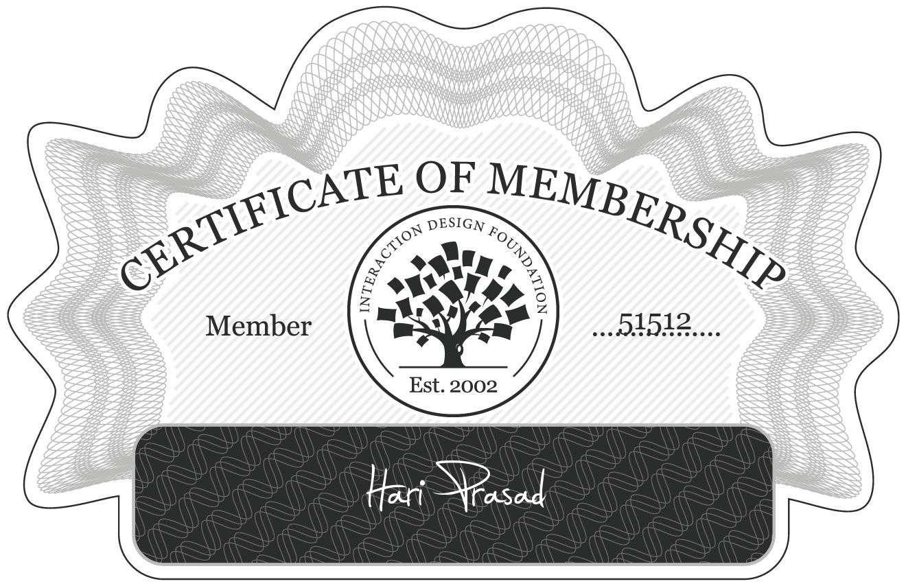 Hari Prasad: Certificate of Membership