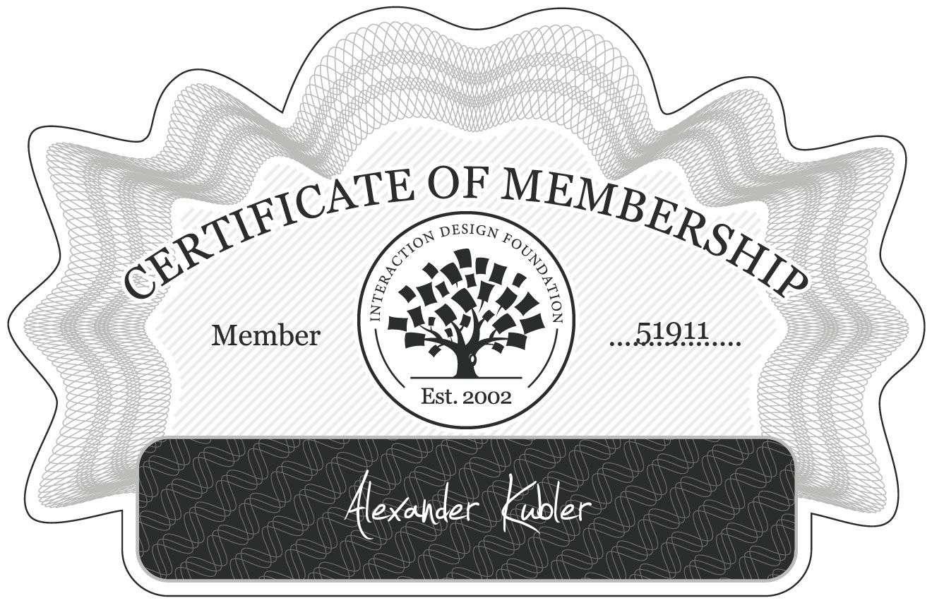 Alexander Kübler: Certificate of Membership